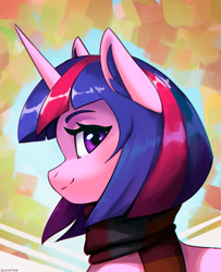 Size: 2000x2469 | Tagged: safe, artist:mrscroup, twilight sparkle, pony, unicorn, clothes, ear fluff, looking at you, looking back, scarf, smiling, solo
