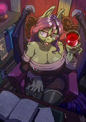 Size: 910x1300   Tagged: safe, artist:atryl, oc, oc:vesper measure, bat pony, anthro, alcohol, belly, breasts, chair, cleavage, clothes, collar, desk, fangs, female, glass, glasses, half-lidded eyes, library, looking at you, milf, seductive look, socks, thigh highs, tongue out, wide hips, wine, wine glass