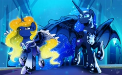 Size: 4000x2480 | Tagged: safe, artist:dormin-dim, nightmare moon, oc, alicorn, bat pony, bat pony alicorn, pony, alicorn oc, armor, badge, bat wings, breastplate, commission, duo, duo female, ethereal mane, ethereal tail, eyebrows, eyelashes, feather, female, fire, fluffy, frown, guardsmare, helmet, high res, hoof shoes, horn, hybrid wings, male, mare, moonlight, night, prices, royal guard, royal guard armor, scowl, sparkles, spread wings, stars, tail, torch, walking, window, wing fluff, wings, ych result