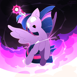 Size: 2500x2500 | Tagged: safe, artist:syrupyyy, twilight sparkle, alicorn, pony, female, glowing, glowing eyes, glowing horn, horn, magic, mare, open mouth, solo, twilight sparkle (alicorn)