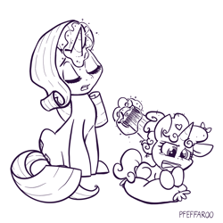 Size: 2048x2048   Tagged: safe, artist:pfeffaroo, rarity, sweetie belle, pony, unicorn, comb, duo, female, monochrome, siblings, simple background, sisters, white background