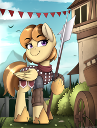 Size: 2480x3268 | Tagged: safe, artist:felixf, oc, oc only, pegasus, armor, female, filly, guardsmare, halberd, knight, mare, pegasus oc, royal guard, weapon
