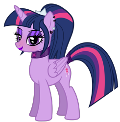 Size: 4432x4518 | Tagged: safe, artist:severity-gray, twilight sparkle, alicorn, pony, alternate hairstyle, bedroom eyes, choker, collar, ear piercing, eyeliner, female, lipstick, makeup, mare, piercing, ponytail, simple background, solo, tail, tail wrap, transparent background, twilight sparkle (alicorn)