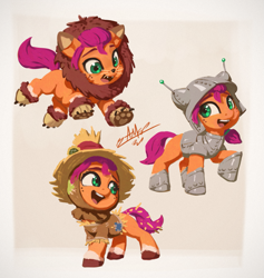Size: 1025x1080 | Tagged: safe, artist:assasinmonkey, sunny starscout, earth pony, pony, g5, my little pony: a new generation, spoiler:my little pony: a new generation, clothes, costume, cute, female, filly, filly sunny starscout, foal, halloween, halloween costume, hnnng, holiday, open mouth, sunnybetes, the wizard of oz, weapons-grade cute
