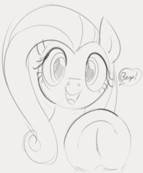 Size: 628x758 | Tagged: safe, artist:dotkwa, fluttershy, pegasus, pony, boop, cute, frog (hoof), grayscale, looking at you, monochrome, shyabetes, sketch, solo, underhoof