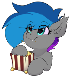 Size: 3522x3685 | Tagged: safe, artist:rileyisherehide, oc, oc only, oc:lyssa, bat pony, pony, commission, cute, eating, eyebrows, eyebrows visible through hair, fangs, food, high res, ocbetes, popcorn, simple background, smiling, solo, transparent background, ych result