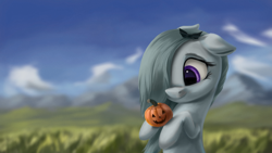 Size: 4000x2250 | Tagged: safe, artist:flusanix, marble pie, earth pony, pony, bow, cloud, cute, female, field, floppy ears, grass, hair bow, halloween, holding, holiday, jack-o-lantern, marblebetes, mare, mountain, pumpkin, rock, sky, smiling, solo