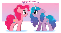 Size: 2792x1529   Tagged: safe, artist:syrupyyy, izzy moonbow, pinkie pie, earth pony, pony, unicorn, g5, my little pony: a new generation, duo, female, generation leap, mare, ponytober, profile, stare, staring contest, the new pinkie pie