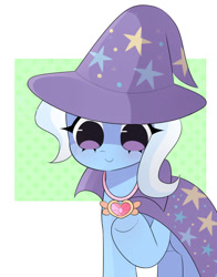 Size: 657x837 | Tagged: safe, artist:franshushu, trixie, pony, unicorn, celestial advice, cape, clothes, cute, diatrixes, equestrian pink heart of courage, fanart, female, hat, jewelry, magic, mare, necklace, smiling, solo, trixie's cape, trixie's hat