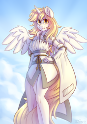 Size: 2480x3508 | Tagged: safe, artist:dandy, oc, oc only, oc:star nai, alicorn, anthro, alicorn oc, beautiful, clothes, cloud, commission, female, hand, hand on hip, high res, horn, looking at you, solo, wings
