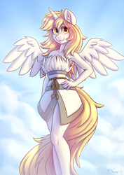 Size: 2480x3508 | Tagged: safe, alternate version, artist:dandy, oc, oc only, oc:star nai, alicorn, anthro, alicorn oc, beautiful, breasts, clothes, cloud, commission, female, hand, hand on hip, high res, horn, looking at you, solo, wings