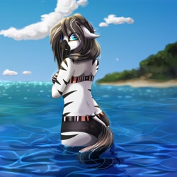 Size: 4096x4096 | Tagged: safe, artist:csox, oc, oc only, zebra, anthro, beach, beautiful, clothes, dock, female, looking back, ocean, solo, swimsuit, tail, water