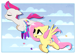 Size: 2773x2016   Tagged: safe, artist:syrupyyy, fluttershy, zipp storm, butterfly, pegasus, pony, g4, g5, my little pony: a new generation, cloud, duo, eyebrows, eyes closed, female, flying, mare, ponytober