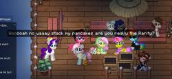Size: 774x355 | Tagged: safe, fluttershy, kerfuffle, marble pie, pipsqueak, rainbow dash, rarity, pegasus, pony, unicorn, pony town, game screencap, stack my pancakes
