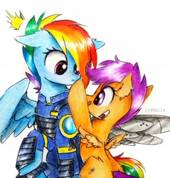 Size: 2350x2455   Tagged: safe, artist:liaaqila, rainbow dash, scootaloo, pegasus, pony, season 5, the cutie re-mark, alternate timeline, apocalypse dash, artificial wings, augmented, boop, crystal war timeline, cute, cutealoo, dashabetes, licking, licking lips, prosthetic wing, prosthetics, sweet dreams fuel, tongue out, traditional art, wings