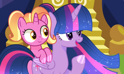 Size: 1280x765   Tagged: safe, artist:starshinesentry07, luster dawn, twilight sparkle, alicorn, pony, unicorn, the last problem, base used, female, filly, filly luster dawn, luster dawn is starlight's and sunburst's daughter, show accurate, story included, twilight sparkle (alicorn), younger