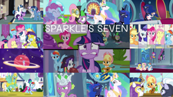 Size: 1968x1109   Tagged: safe, edit, edited screencap, editor:quoterific, screencap, applejack, fluttershy, gummy, night light, pinkie pie, princess celestia, princess luna, rainbow dash, rarity, shining armor, silver sable, spike, twilight sparkle, twilight velvet, zephyr breeze, alicorn, bird, dragon, earth pony, goose, pegasus, pony, unicorn, sparkle's seven, apple chord, applejack's hat, armor, baby, baby dragon, baby spike, clothes, costume, cowboy hat, crown, dangerous mission outfit, detective rarity, eyes closed, female, filly, filly twilight sparkle, floppy ears, freakout, goggles, group hug, hard-won helm of the sibling supreme, hat, hoodie, hoof shoes, hug, jewelry, lip bite, male, mane seven, mane six, open mouth, regalia, royal guard, royal guard rarity, royal guard zephyr breeze, royal sisters, siblings, sisters, throne, twilight sparkle (alicorn), unicorn twilight, winged spike, younger