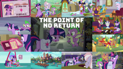 Size: 1968x1109 | Tagged: safe, edit, edited screencap, editor:quoterific, screencap, chelsea porcelain, derpy hooves, dusty pages, first folio, gallus, moondancer, polo play, silverstream, smolder, spike, twilight sparkle, alicorn, dragon, griffon, hippogriff, pony, the point of no return, bag, boat, book, butt, dragoness, duo, eyes closed, female, flying, glowing horn, horn, las pegasus resident, library, library card, license, lifejacket, magic, magic aura, male, open mouth, pier, running, saddle bag, school of friendship, seaward shoals, shocked, sitting, the tasty treat, trio, twibutt, twilight sparkle (alicorn), water, winged spike, wings