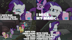 Size: 1986x1117   Tagged: safe, edit, edited screencap, editor:quoterific, screencap, applejack, fluttershy, pinkie pie, rainbow dash, rarity, spike, twilight sparkle, alicorn, dragon, earth pony, fly, insect, pegasus, pony, unicorn, school raze, backpack, bag, crying, eyes closed, female, horses doing horse things, male, mane seven, mane six, open mouth, rarity being rarity, saddle bag, twilight sparkle (alicorn), walking