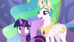 Size: 1920x1080   Tagged: safe, screencap, princess celestia, twilight sparkle, alicorn, pony, celestial advice, :o, duo, duo female, female, mare, open mouth, twilight sparkle (alicorn)