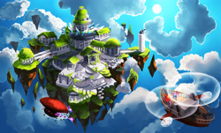 Size: 5300x3200 | Tagged: safe, artist:chibionpu, oc, oc:azure feather, dragon, unicorn, fanfic:expedition to cloudbreak islands, airship, butterfly wings, cloud, floating, floating island, helicopter, horn, ruins, scenery, sunburn, temple, unicorn oc, wings