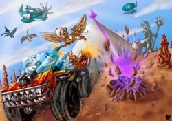 Size: 2048x1441 | Tagged: safe, artist:valyce-negative, oc, oc:clashing gale, oc:grenelda, oc:nutmeg inferno, oc:static signal, oc:summer scribe, bat pony, centaur, griffon, kirin, pegasus, shark, unicorn, fanfic:expedition to cloudbreak islands, airship, bat pony oc, comic, danger, desert, engine, feline, flying, goggles, griffon oc, horn, kirin oc, laser, monster truck, pegasus oc, pyramid, scenery, truck, unicorn oc, wings
