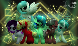 Size: 2000x1200 | Tagged: safe, artist:jadebreeze115, oc, oc only, oc:jade breeze, oc:winter light, alicorn, earth pony, pegasus, pony, base used, colored wings, colorful, complex background, creepy, evil, evil eyes, gradient wings, group, group shot, looking at you, mean, multicolored hair, scary face, spread wings, wings
