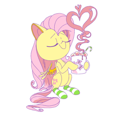 Size: 1200x1100 | Tagged: safe, artist:batshaped, fluttershy, pegasus, pony, candy, candy cane, chocolate, clothes, cute, drink, eyes closed, female, food, heart, heart shaped, hoof hold, hot chocolate, mare, marshmallow, mug, shyabetes, simple background, sitting, smiling, socks, solo, steam, striped socks, white background