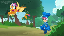 Size: 8000x4500 | Tagged: safe, artist:metalhead97, scootaloo, smolder, dragon, equestria girls, equestria girls series, for whom the sweetie belle toils, what lies beneath, boots, clothes, commission, costume, cute, cutealoo, dragoness, dress, equestria girls interpretation, eyeliner, eyes open, female, fist, flying, forest, forest background, hat, having fun, high heel boots, high heels, jewelry, jogging, looking at each other, looking back, makeup, open mouth, outdoors, princess smolder, race, running, scene interpretation, shoes, show accurate, skirt, skirt lift, skirt pull, skirtaloo, smolder also dresses in style, smolderbetes, tiara, tree