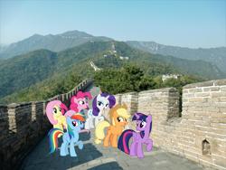 Size: 1920x1440 | Tagged: safe, artist:andoanimalia, artist:estories, edit, editor:jaredking203, vector edit, applejack, fluttershy, pinkie pie, rainbow dash, rarity, twilight sparkle, alicorn, earth pony, pegasus, pony, unicorn, beijing, china, female, great wall of china, irl, mane six, mare, photo, ponies in real life, story included, twilight sparkle (alicorn), vector