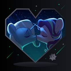Size: 2543x2549 | Tagged: safe, artist:sugarstar, starlight glimmer, trixie, pony, unicorn, female, high res, imminent kissing, lesbian, shipping, startrix