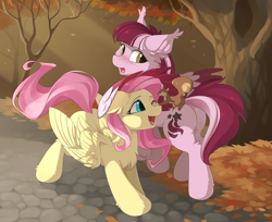 Size: 2700x2200 | Tagged: safe, artist:dreamweaverpony, fluttershy, oc, oc:dusty ember, pegasus, pony, squirrel, autumn, blushing, butt, chest fluff, cute, ear fluff, forest, hoof fluff, one eye closed, open mouth, park, scenery, shyabetes, smiling, that pony sure does love animals, wing fluff, wink
