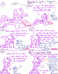 Size: 4779x6013   Tagged: safe, artist:adorkabletwilightandfriends, sniffles, twilight sparkle, oc, oc:pinenut, alicorn, cat, mouse, pony, comic:adorkable twilight and friends, absurd resolution, adorkable, adorkable twilight, book, cat toy, cellphone, comic, confused, cute, dork, duo, female, glowing horn, horn, lying down, magic, male, meow, monetize your pets, nostril flare, open door, open mouth, pet, petting, phone, pinebetes, prone, purring, reading, recording, rubbing nose, sitting, slice of life, smartphone, sniffing, sniffling, solo, telekinesis, twiabetes, twilight sparkle (alicorn)