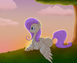 Size: 3300x2700 | Tagged: safe, artist:s.l.guinefort, fluttershy, pegasus, pony, crossed hooves, cute, dock, female, grass, high res, looking away, lying down, mare, outdoors, prone, shyabetes, solo, spread wings, sunset, tree, under the tree, wings