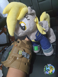 Size: 3024x4032   Tagged: safe, artist:shappy the lamia, derpy hooves, pegasus, pony, fallout equestria, caress, clothes, cosplay, costume, craft, derp, fallout, petting, photo, pipboy, pipbuck, plushie, plushies shy, real life background, reality, solo, suit, vault 111, vault boy, vault suit