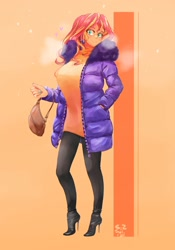 Size: 1400x2000   Tagged: safe, artist:sozglitch, sunset shimmer, equestria girls, big breasts, breasts, busty sunset shimmer, clothes, coat, female, floating heart, heart, high heels, huge breasts, jacket, leggings, orange background, purse, shoes, simple background, solo, stiletto heels, sweater, sweater dress, visible breath
