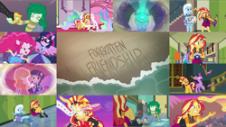 Size: 1978x1114 | Tagged: safe, edit, edited screencap, editor:quoterific, screencap, aqua blossom, golden hazel, pinkie pie, princess celestia, sci-twi, sunset shimmer, trixie, twilight sparkle, wallflower blush, alicorn, pony, unicorn, equestria girls, equestria girls series, forgotten friendship, angry, blushing, eyes closed, female, glowing horn, horn, hug, magic, magic aura, open mouth, ponied up, teeth, twilight sparkle (alicorn)