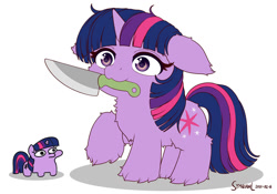 Size: 1280x896 | Tagged: safe, artist:jargon scott, artist:symbianl, twilight sparkle, pony, unicorn, alternate style, cute, female, floppy ears, fluffy, knife, mare, mouth hold, simple background, size comparison, solo, squatpony, this will end in tears, twiggie, unicorn twilight, weapons-grade cute