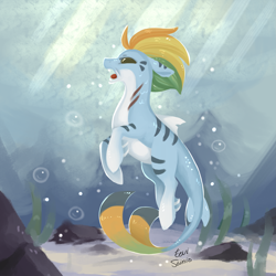 Size: 2449x2449 | Tagged: safe, artist:eeviart, hybrid, merpony, sea pony, bubble, crepuscular rays, fins, fish tail, flowing mane, flowing tail, high res, looking up, ocean, open mouth, rock, seaweed, signature, solo, sunlight, swimming, tail, underwater, water, yellow eyes