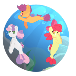 Size: 2449x2449 | Tagged: safe, artist:peachy-bon, apple bloom, scootaloo, sweetie belle, earth pony, pegasus, pony, seapony (g4), unicorn, adorabloom, crepuscular rays, cute, cutealoo, cutie mark crusaders, diasweetes, dorsal fin, female, fin wings, flowing mane, flowing tail, green eyes, horn, lineless, ocean, one eye closed, open mouth, red eyes, ribbon, sea-mcs, seaponified, seapony apple bloom, seapony scootaloo, seapony sweetie belle, seaquestria, seaweed, simple background, smiling, species swap, sunlight, sweet dreams fuel, swimming, tail, transparent background, underwater, water, wings, wink