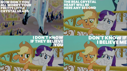 Size: 1986x1117   Tagged: safe, edit, edited screencap, editor:quoterific, screencap, applejack, rarity, earth pony, pony, unicorn, the crystal empire, applejack's hat, bipedal, bipedal leaning, cowboy hat, crystal empire, duo, grin, gritted teeth, hat, leaning, nervous, open mouth, smiling, teeth, waving