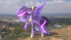 Size: 1280x720 | Tagged: safe, artist:robinnomadrain, twilight sparkle, alicorn, pony, the last problem, big crown thingy 2.0, female, hoof shoes, irl, looking at something, mare, older, older twilight, peytral, photo, ponies in real life, princess twilight 2.0, raised hoof, solo, spread wings, twilight sparkle (alicorn), windswept mane, wings