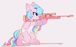 Size: 2026x1268 | Tagged: safe, artist:little-sketches, oc, oc only, oc:misha, pegasus, pony, bow, bullpup rifle, choker, commission, female, focused, gun, looking ahead, mare, pale belly, rifle, simple background, sniper, solo, tail bow, two toned wings, weapon, white belly, wings