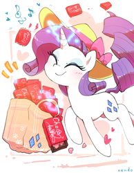 Size: 1200x1550 | Tagged: safe, artist:nendo, rarity, pony, unicorn, bag, blushing, chocolate, cute, eyes closed, female, food, glowing horn, happy, hat, heart, holiday, horn, magic, mare, music notes, raribetes, shopping bags, simple background, smiling, solo, telekinesis, valentine's day