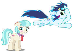 Size: 11041x7970 | Tagged: safe, artist:dashiesparkle, artist:frownfactory, artist:lahirien, edit, coco pommel, soarin', pony, made in manehattan, rainbow falls, .svg available, absurd resolution, blue hair, blue mane, blue tail, blushing, cocobetes, cute, distracted, female, flying, goggles, green eyes, inkscape, male, ponyscape, shipping, show accurate, simple background, soarinpommel, stallion, straight, transparent background, vector, wings, wonderbolts