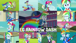 Size: 1952x1099   Tagged: safe, edit, edited screencap, editor:quoterific, screencap, applejack, fluttershy, rainbow dash, sci-twi, twilight sparkle, human, equestria girls, equestria girls (movie), equestria girls series, forgotten friendship, friendship games, i'm on a yacht, rainbow rocks, run to break free, sock it to me, spring breakdown, stressed in show, stressed in show: rainbow dash, sunset's backstage pass!, wake up!, spoiler:eqg series (season 2), backpack, cap, clothes, cute, cutie mark, cutie mark on clothes, dashabetes, eyes closed, female, football, geode of super speed, guitar, hat, magical geodes, motorcycle, musical instrument, open mouth, ponied up, rainbow, ship, solo, sports, swimsuit, teeth, volleyball, wake up!: rainbow dash