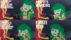 Size: 1986x1117   Tagged: safe, edit, edited screencap, editor:quoterific, screencap, sunset shimmer, wallflower blush, human, equestria girls, equestria girls series, forgotten friendship, angry, duo, duo female, eyes closed, female, i hate you, open mouth