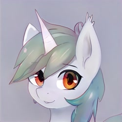 Size: 1024x1024 | Tagged: safe, artist:thisponydoesnotexist, pony, gray background, horn, looking at you, neural network, simple background