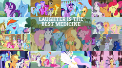 Size: 1968x1107   Tagged: safe, edit, edited screencap, editor:quoterific, screencap, apple bloom, applejack, berry punch, berryshine, carrot top, cloud kicker, coco crusoe, dark moon, diamond tiara, doctor whooves, fancypants, fleur-de-lis, fluttershy, golden harvest, graphite, junebug, lemon hearts, linky, lyra heartstrings, minuette, pinkie pie, princess celestia, princess luna, rainbow dash, rainbow stars, rainbowshine, rarity, scootaloo, sea swirl, seafoam, shoeshine, spike, starlight glimmer, sweetie belle, time turner, tornado bolt, trixie, twilight sparkle, twinkleshine, alicorn, dragon, earth pony, pegasus, pony, unicorn, bats!, celestial advice, dragonshy, fall weather friends, friendship is magic, horse play, it's about time, magic duel, no second prances, ponyville confidential, what about discord?, winter wrap up, applejack's hat, bipedal, book, bow, clothes, cowboy hat, cutie mark crusaders, eyes closed, female, filly, fluttershy's cottage, hat, hoof shoes, laughing, male, mane seven, mane six, no mouth, nose in the air, open mouth, sharp teeth, sitting, teeth, twilight sparkle (alicorn), twilight's castle, unicorn twilight, vest, wall of tags