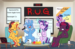 Size: 6528x4259 | Tagged: safe, artist:chub-wub, fizzlepop berrytwist, starlight glimmer, sunset shimmer, tempest shadow, trixie, twilight sparkle, alicorn, pony, unicorn, absurd resolution, apple, armchair, banana, bottle, can, chair, cider, computer, couch, counterparts, drink, eyes closed, female, food, fruit, glowing horn, headphones, headset, horn, implied moondancer, laptop computer, levitation, magic, mare, microphone, open mouth, orange, pepsi, podcast, poster, raised hoof, raised leg, recording studio, reformed, reformed unicorn meeting, smiling, soda, table, telekinesis, twilight sparkle (alicorn), twilight's counterparts, water, water bottle